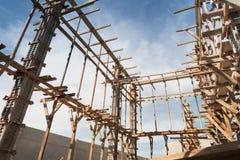Struttura di legno che sostiene la struttura del fascio Fotografia Stock Libera da Diritti