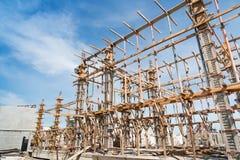 Struttura di legno che sostiene la struttura del fascio Fotografie Stock Libere da Diritti
