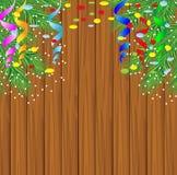 Struttura di legno con i rami dell'albero di Natale Fotografia Stock