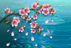 Struttura di legno del fondo con il ramo di sakura royalty illustrazione gratis