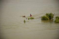 Struttura di legno del lavoratore di demolizione tailandese della gente del ristorante di galleggiamento nel Mekong perché inonda Fotografia Stock