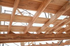 Struttura di legno della costruzione della casa Fotografia Stock Libera da Diritti