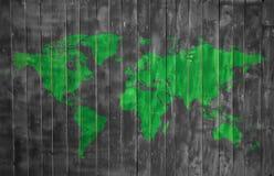 Struttura di legno di ecologia del mondo con la mappa Immagine Stock