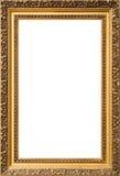 Struttura di legno dorata antica isolata su fondo bianco Fotografia Stock Libera da Diritti