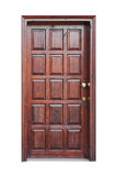 Struttura di legno e porta di via del pannello isolata Immagine Stock