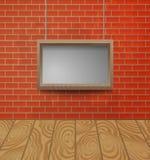 Struttura di legno sui precedenti del muro di mattoni Immagini Stock Libere da Diritti
