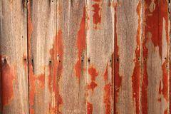 Struttura di legno Vecchio fondo di legno della parete della plancia con il foro dei chiodi fotografia stock libera da diritti