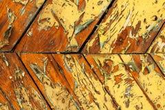 Struttura di legno verniciata colore giallo Fotografia Stock