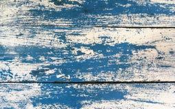 Struttura di lerciume: Vecchia tavola di legno dipinta con il co blu e bianco Fotografie Stock Libere da Diritti
