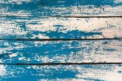 Struttura di lerciume: Vecchia tavola di legno dipinta con il co blu e bianco Immagini Stock