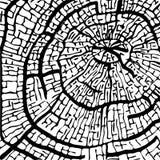 Struttura di lineare nero segato di legno sull'immagine bianca di vettore del fondo illustrazione di stock