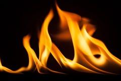 Struttura di macro del fondo della fiamma del fuoco Fotografie Stock Libere da Diritti