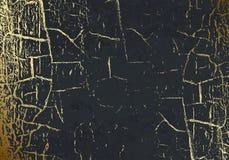 Struttura di marmo di vettore con stagnola dorata incrinata patina Graffio dell'oro Fondo grigio scuro sottile di festa Fascino a illustrazione di stock