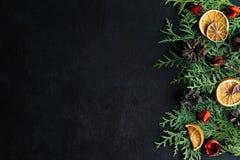 Struttura di natale decorazione Su un fondo nero Fotografie Stock