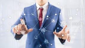 Struttura di organizzazione industriale di flusso di lavoro di processo aziendale di tecnologia sullo schermo virtuale Il concett immagini stock libere da diritti