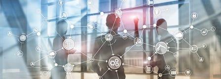 Struttura di organizzazione industriale di flusso di lavoro di processo aziendale di tecnologia sullo schermo virtuale Il concett illustrazione vettoriale
