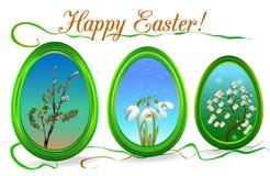 Struttura di Pasqua con i motivi floreali Fotografia Stock