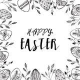 Struttura di Pasqua con le uova di Pasqua Fotografie Stock Libere da Diritti