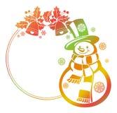 Struttura di pendenza con le siluette il pupazzo di neve, le bacche dell'agrifoglio e delle campane di Natale divertenti illustrazione vettoriale