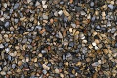 Struttura di piccole pietre bagnate nella pioggia, fondo immagini stock