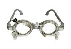 Struttura di prova dell'optometrista su fondo bianco Fotografia Stock Libera da Diritti
