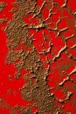 Struttura di rame della vernice su colore rosso Fotografie Stock