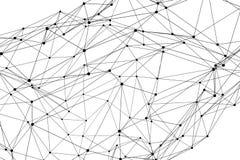 Struttura di rete tridimensionale astratta del wireframe del poligono Fotografia Stock