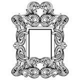 Struttura di Rich Baroque Mirror Ornamenti complessi ricchi di lusso francesi di vettore Decorazione reale vittoriana di stile illustrazione vettoriale