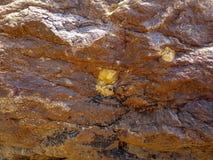 Struttura di roccia marrone sulla spiaggia fotografia stock