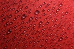 Struttura di rosso delle gocce di acqua Fotografia Stock