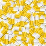 Struttura di sanità con il mazzo di pillole mediche gialle e bianche illustrazione vettoriale