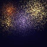 Struttura di scintillio di colore isolata sul nero Colore ambrato delle particelle Priorità bassa celebratoria Esplosione dorata  illustrazione vettoriale