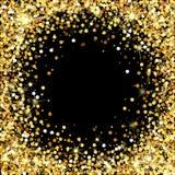 Struttura di scintillio dell'oro con spazio vuoto per testo Coriandoli dorati sparsi Punti rotondi dorati Oro brillante luminoso  Fotografie Stock