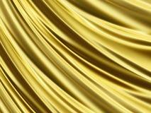 Struttura di seta scintillante dorata piegata 3D Immagine Stock