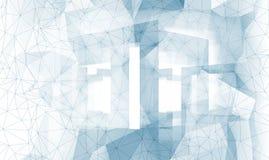 Struttura di superficie poligonale astratta del fondo di bianco 3d Immagini Stock