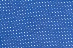 Struttura di tessuto blu in piselli Fotografia Stock Libera da Diritti