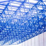 Struttura di tetto d'acciaio nel tono blu Fotografie Stock