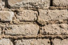 Struttura di vecchia parete dei blocchetti del mattone, del mattone sparso e della muratura, fondo astratto di architettura Fotografia Stock