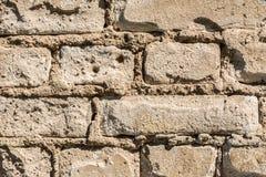 Struttura di vecchia parete dei blocchetti del mattone, del mattone sparso e della muratura, fondo astratto di architettura Immagine Stock