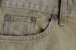 Struttura di vecchia parte dei jeans del denim di Brown dei pantaloni fotografia stock libera da diritti