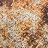 Struttura di vecchio metallo arrugginito del piatto del diamante Fotografia Stock