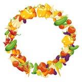 Struttura di verdure con l'umore di autunno Decorazione di stagione del raccolto Vec Immagini Stock