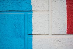 Struttura di verniciatura blu, bianca e rossa del fondo fotografie stock