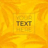 Struttura di vettore con le foglie realistiche delle palme Profili le palme con il posto per il vostro testo su giallo luminoso royalty illustrazione gratis