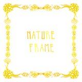 Struttura di vettore della natura dell'acquerello con testo scritto a mano con i fiori, le bacche e le piante Immagini Stock Libere da Diritti