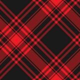 Struttura diagonale del tessuto del kilt rosso del nero del tartan di Menzies senza cuciture Fotografia Stock