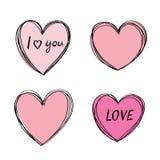 Struttura disegnata a mano del cuore Profili trascurati svegli, colore rosa fresco Materiale di riempimento mobile Illustrazione di Stock