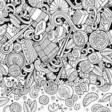 Struttura disegnata a mano dell'alimento del Giappone di scarabocchi di contorno del fumetto immagini stock