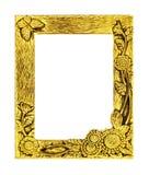 Struttura dorata antica isolata su fondo bianco, percorso di ritaglio Immagini Stock