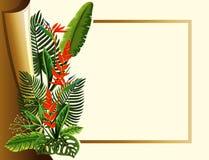 Struttura dorata con i fiori e le foglie verdi rossi Immagine Stock Libera da Diritti